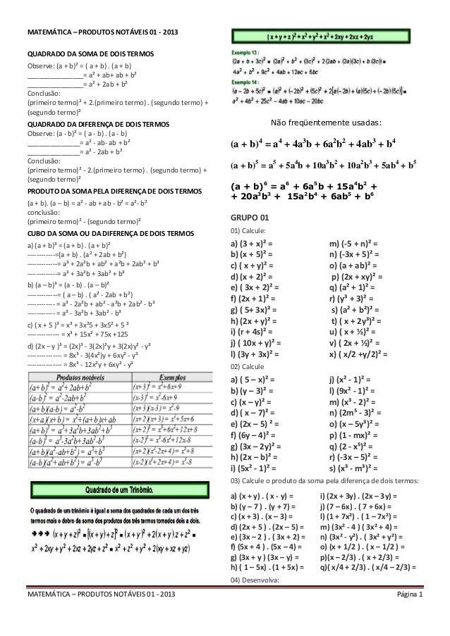 Matemática – produtos notáveis 01   2013