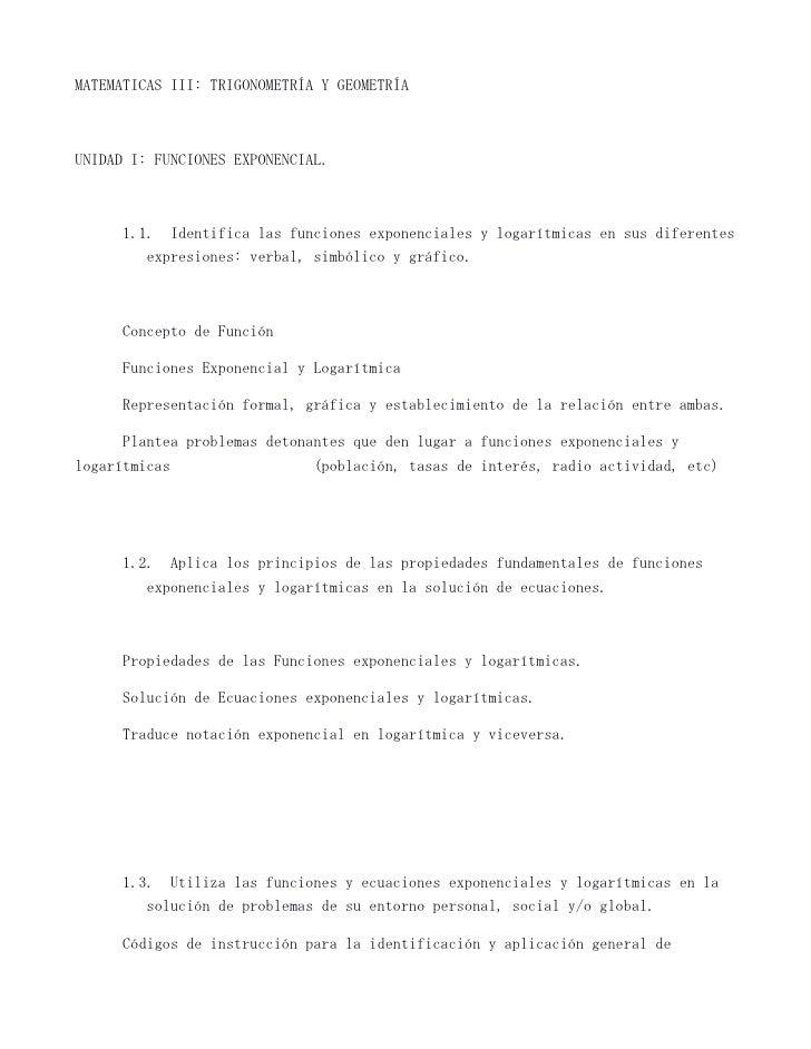 MATEMATICAS III: TRIGONOMETRÍA Y GEOMETRÍAUNIDAD I: FUNCIONES EXPONENCIAL.      1.1. Identifica las funciones exponenciale...