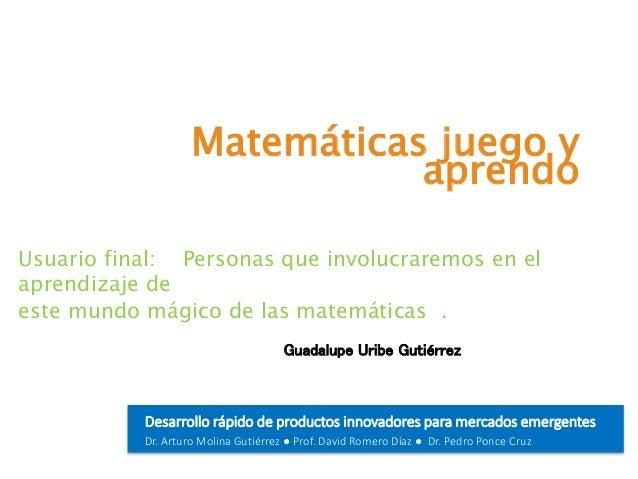 Tema de la presentación Desarrollo rápido de productos innovadores para mercados emergentes Dr. Arturo Molina Gutiérrez ● ...