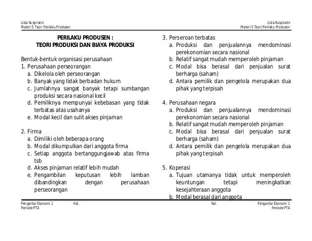 Lista Kuspriatni Materi 5 Teori Perilaku Produsen  Lista Kuspriatni Materi 5 Teori Perilaku Produsen  PERILAKU PRODUSEN : ...