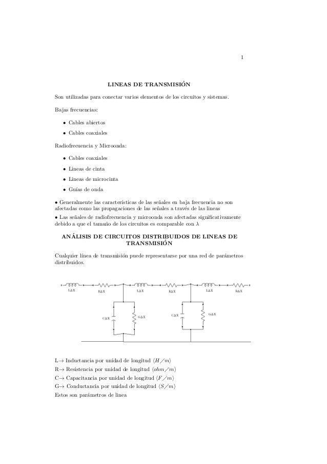 1 LINEAS DE TRANSMISI´ON Son utilizadas para conectar varios elementos de los circuitos y sistemas. Bajas frecuencias: • C...