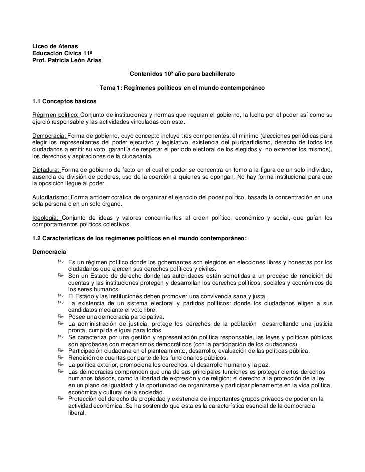 Liceo de AtenasEducación Cívica 11ºProf. Patricia León Arias                                    Contenidos 10º año para ba...
