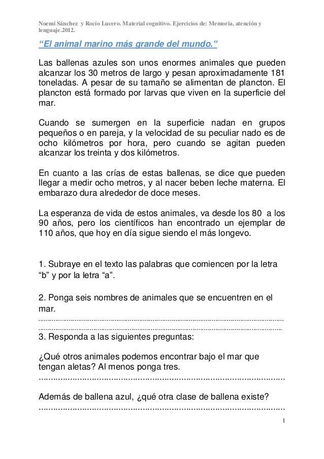 """Noemi Sánchez y Rocío Lucero. Material cognitivo. Ejercicios de: Memoria, atención ylenguaje.2012.1""""El animal marino más g..."""