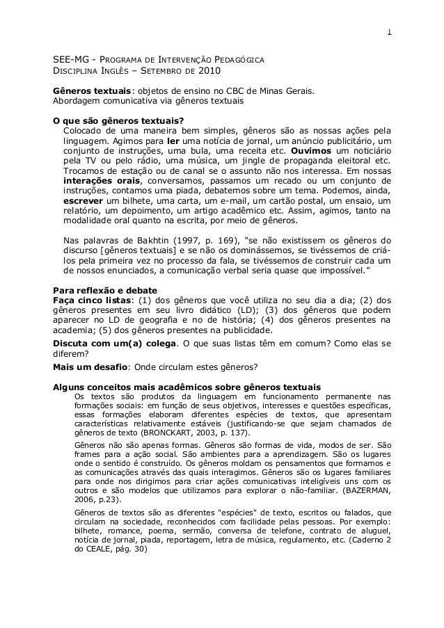 1 SEE-MG - PROGRAMA DE INTERVENÇÃO PEDAGÓGICA DISCIPLINA INGLÊS – SETEMBRO DE 2010 Gêneros textuais: objetos de ensino no ...