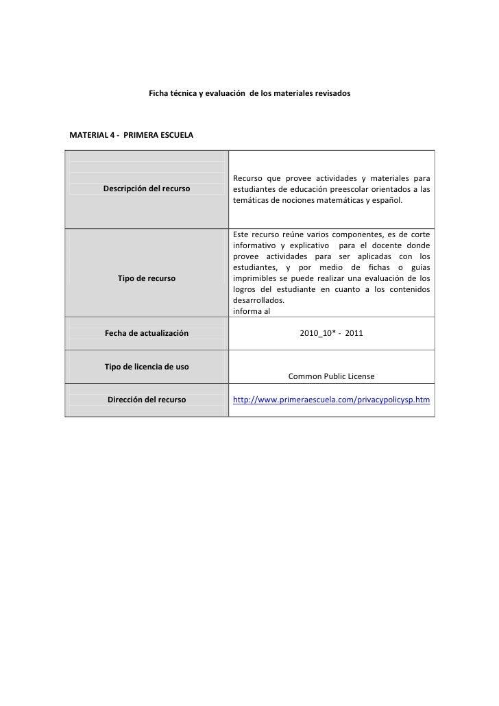Ficha técnica y evaluación de los materiales revisadosMATERIAL 4 - PRIMERA ESCUELA                                        ...