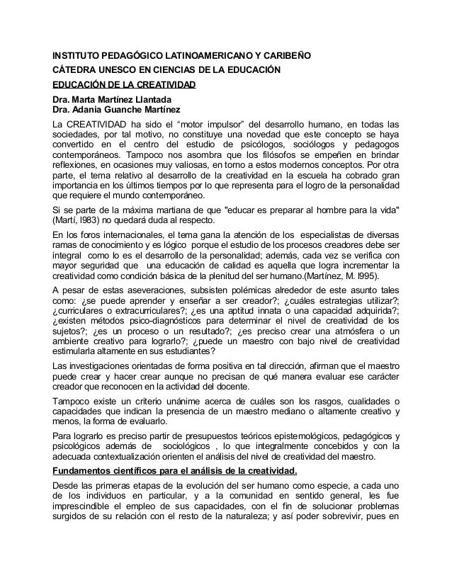 INSTITUTO PEDAGÓGICO LATINOAMERICANO Y CARIBEÑOCÁTEDRA UNESCO EN CIENCIAS DE LA EDUCACIÓNEDUCACIÓN DE LA CREATIVIDADDra. M...