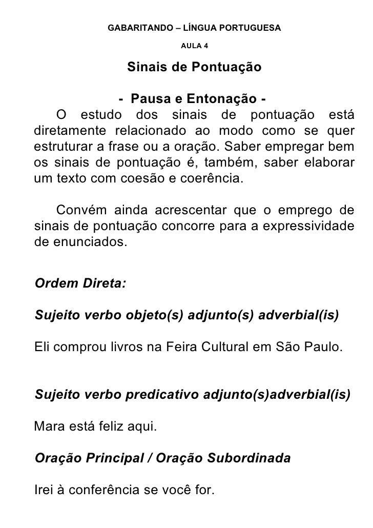 GABARITANDO – LÍNGUA PORTUGUESA                           AULA 4                   Sinais de Pontuação                 - P...