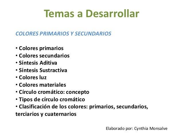 Temas a DesarrollarCOLORES PRIMARIOS Y SECUNDARIOS• Colores primarios• Colores secundarios• Síntesis Aditiva• Síntesis Sus...