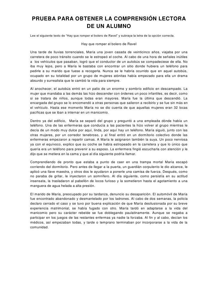 """PRUEBA PARA OBTENER LA COMPRENSIÓN LECTORA DE UN ALUMNO<br />Lee el siguiente texto de """"Hay que romper el bolero de Ravel""""..."""