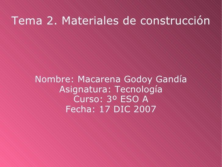 Materiales de construccion por Macarena