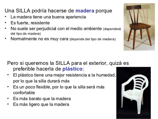Una SILLA podría hacerse de madera porque• La madera tiene una buena apariencia• Es fuerte, resistente• No suele ser perju...