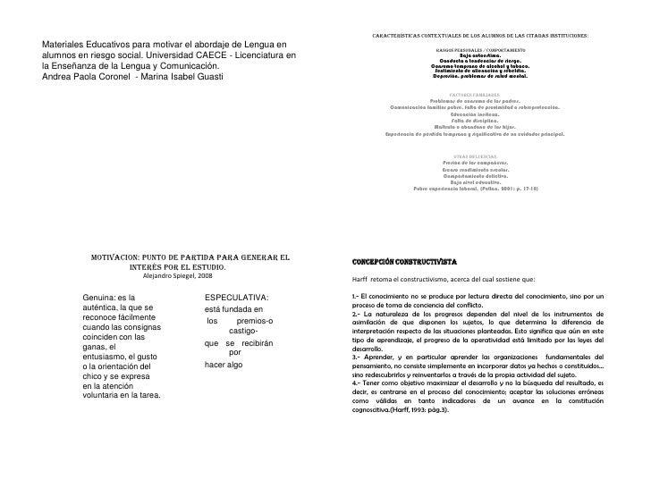 características contextuales de los alumnos de las citadas instituciones:<br /> Rasgos personales / Comportamiento<br />Ba...