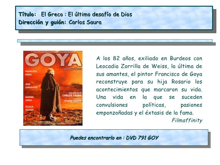 Título: El Greco : El último desafío de DiosDirección y guión: Carlos Saura                              A los 82 años, ex...