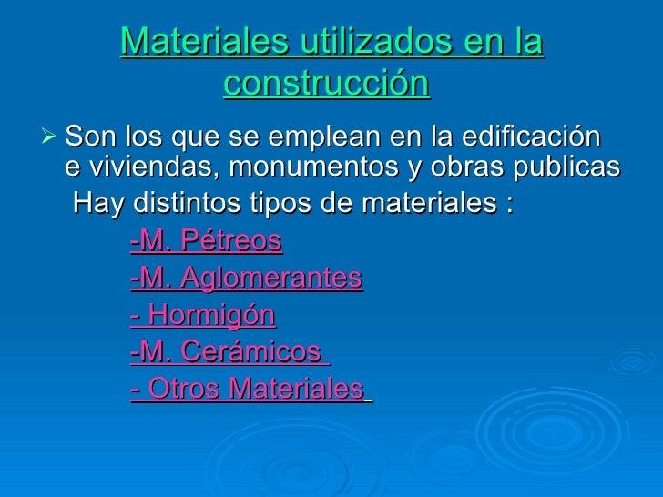 Materiales para la construcci n presentacion for Materiales de construccion marmol