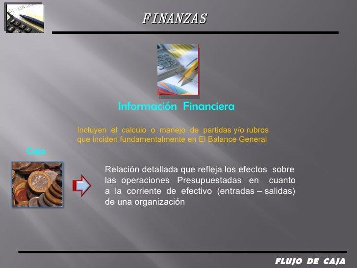 FLUJO  DE  CAJA  Información  Financiera Incluyen  el  calculo  o  manejo  de  partidas y/o rubros  que inciden fundamenta...
