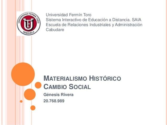 Universidad Fermín Toro Sistema Interactivo de Educación a Distancia. SAIA Escuela de Relaciones Industriales y Administra...
