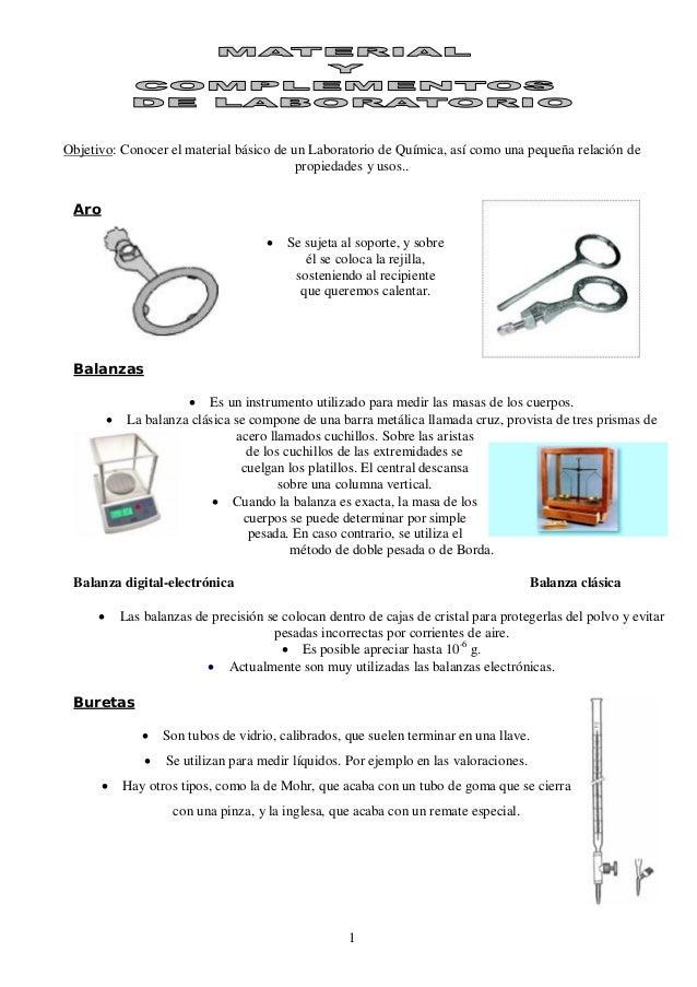 Objetivo: Conocer el material básico de un Laboratorio de Química, así como una pequeña relación de                       ...