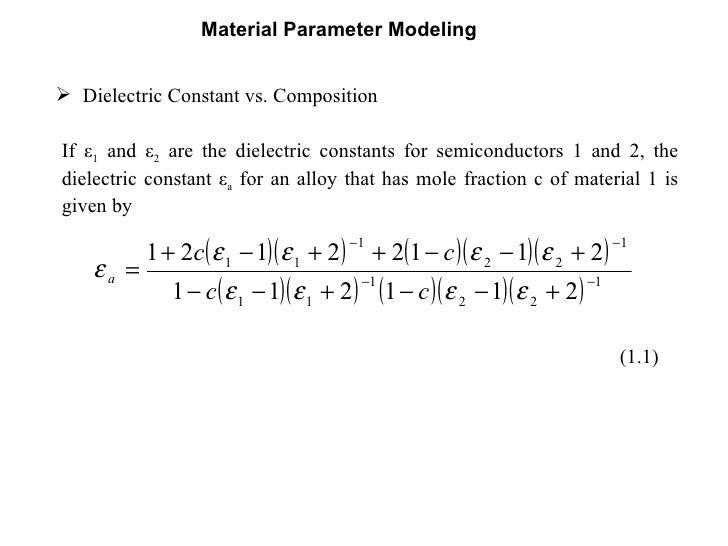 Material parameter modeling