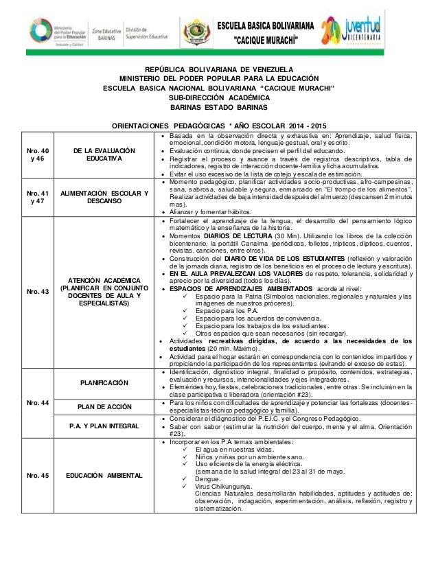 "REPÚBLICA BOLIVARIANA DE VENEZUELA MINISTERIO DEL PODER POPULAR PARA LA EDUCACIÓN ESCUELA BASICA NACIONAL BOLIVARIANA ""CAC..."