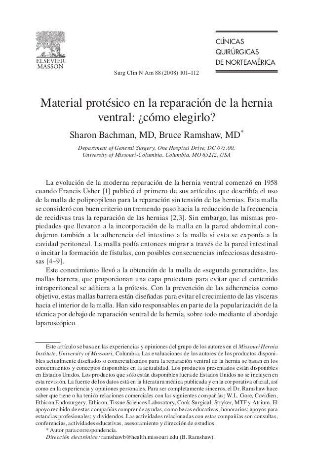 CLÍNICAS QUIRÚRGICAS DE NORTEAMÉRICA La evolución de la moderna reparación de la hernia ventral comenzó en 1958 cuando Fra...