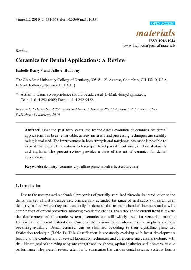 Materials 2010, 3, 351-368; doi:10.3390/ma3010351 materials ISSN 1996-1944 www.mdpi.com/journal/materials Review Ceramics ...