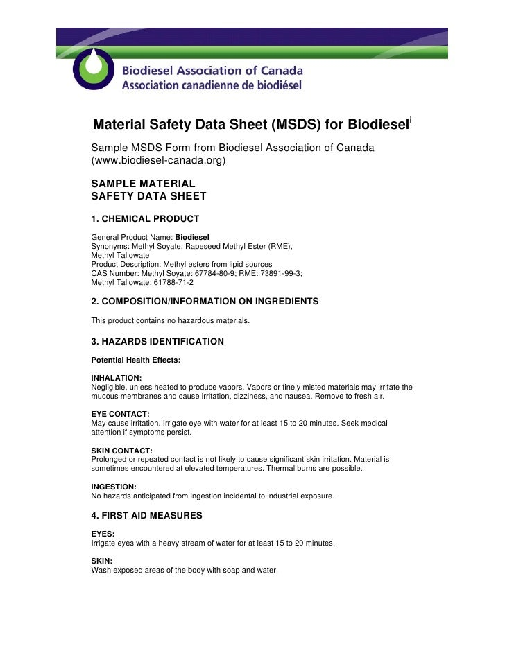 Material Safety Data Sheet (MSDS) for Biodieseli Sample MSDS Form from Biodiesel Association of Canada (www.biodiesel-cana...