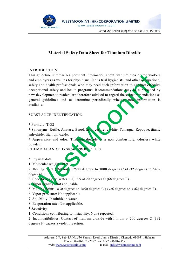 WestMoonint (HK) CO., LTD             Material Safety Data Sheet for Titanium DioxideINTRODUCTIONThis guideline summarizes...