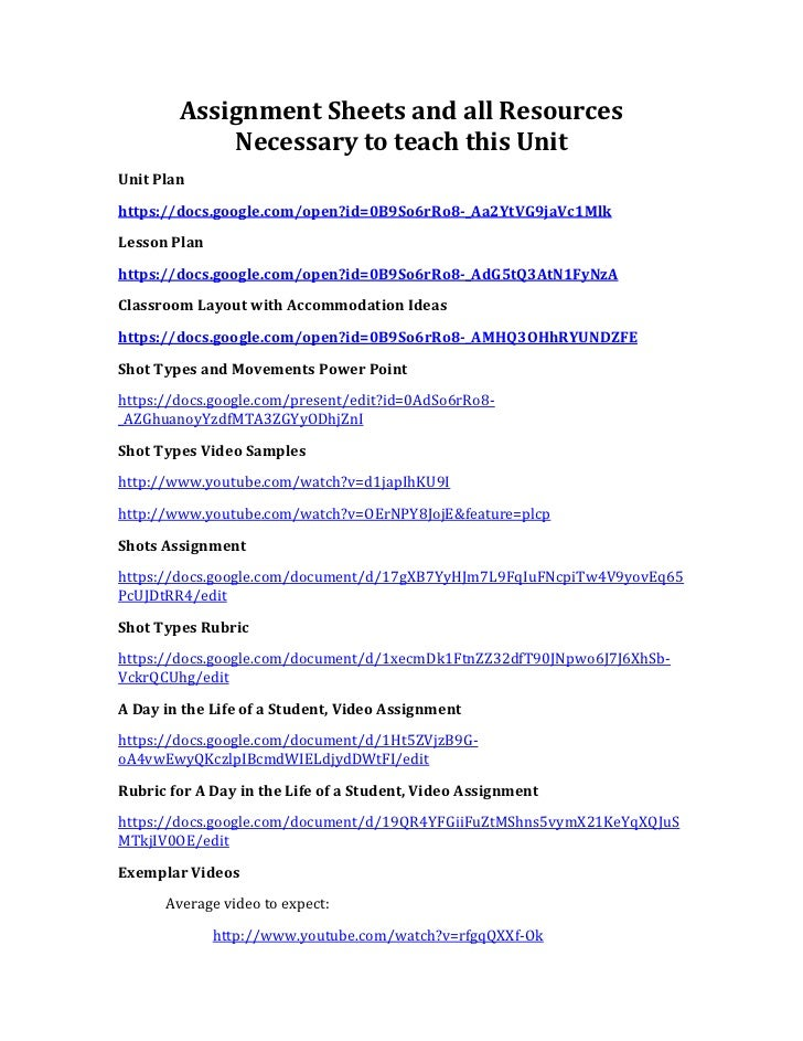 Assignment Sheets and all Resources            Necessary to teach this UnitUnit Planhttps://docs.google.com/open?id=0B9So6...