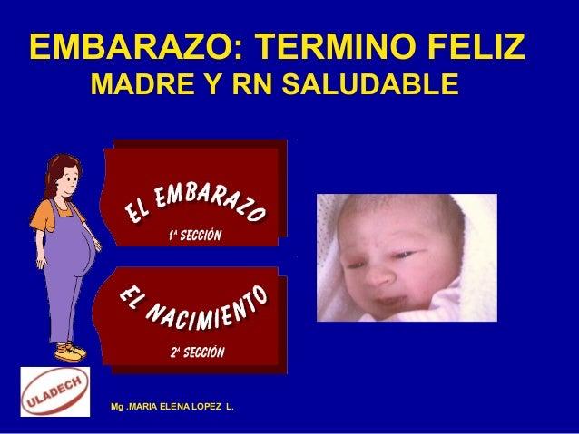EMBARAZO: TERMINO FELIZ  MADRE Y RN SALUDABLE   Mg .MARIA ELENA LOPEZ L.