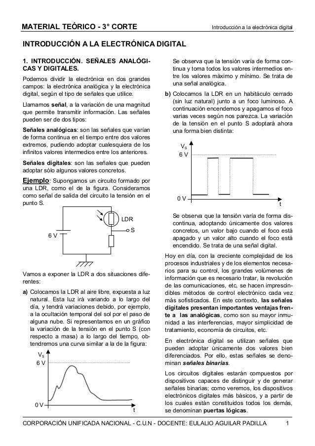 MATERIAL TEÓRICO - 3° CORTE  Introducción a la electrónica digital  INTRODUCCIÓN A LA ELECTRÓNICA DIGITAL 1. INTRODUCCIÓN....