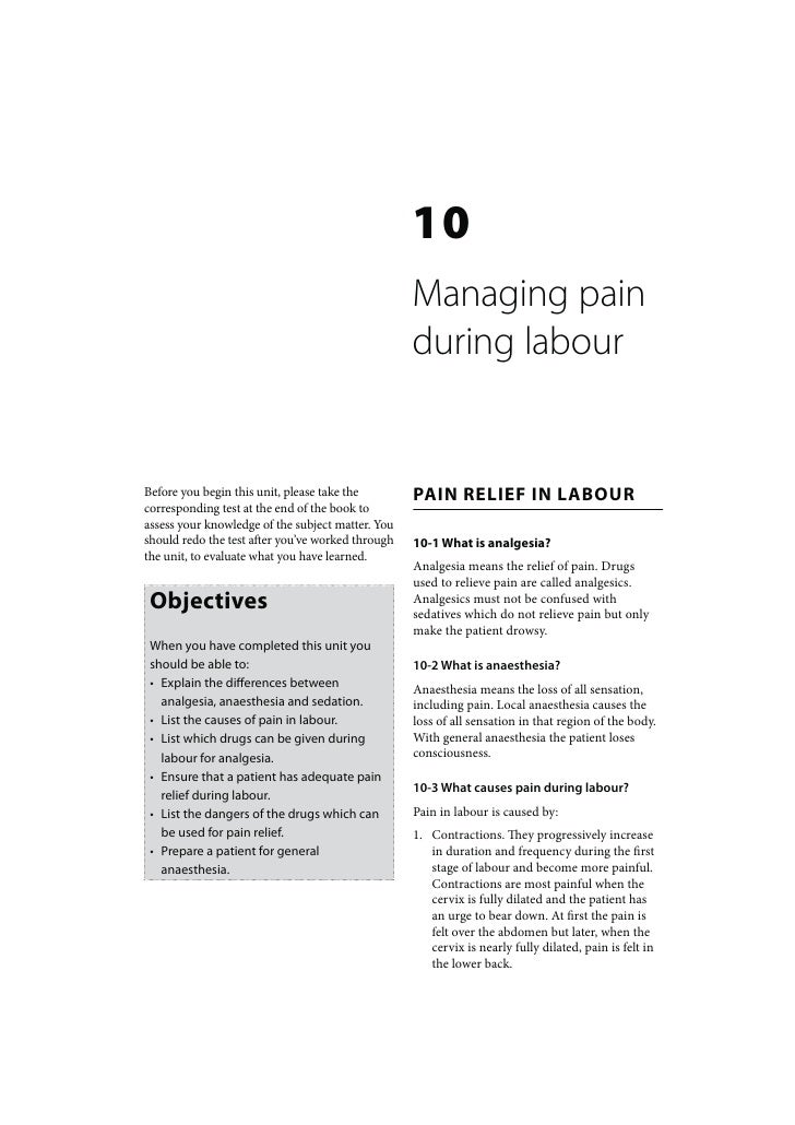 Maternal Care: Managing pain during labour