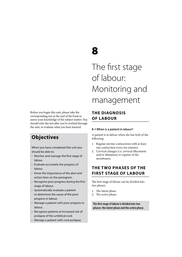 Maternal Care: The first stage labour Monitoring and management