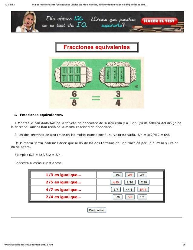 13/01/13               mates,Fracciones de Aplicaciones Didácticas Matemáticas, fracciones equivalentes simplificadas ired...