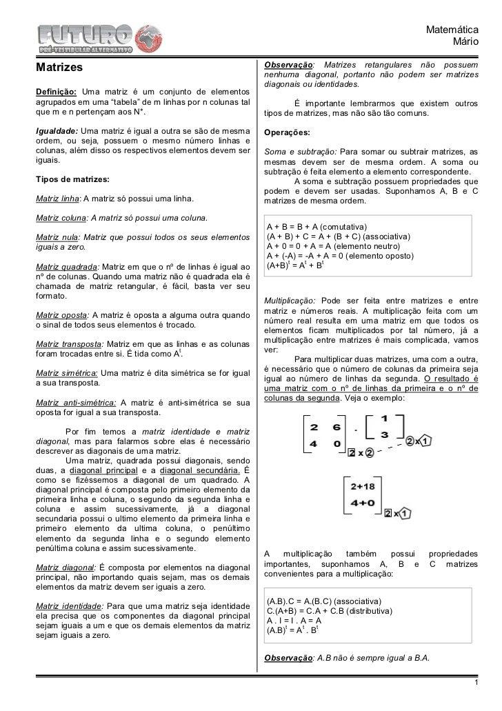 Mat estudo das matrizes