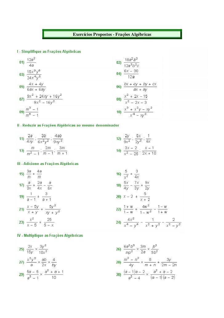 Exercícios Propostos - Frações Algébricas