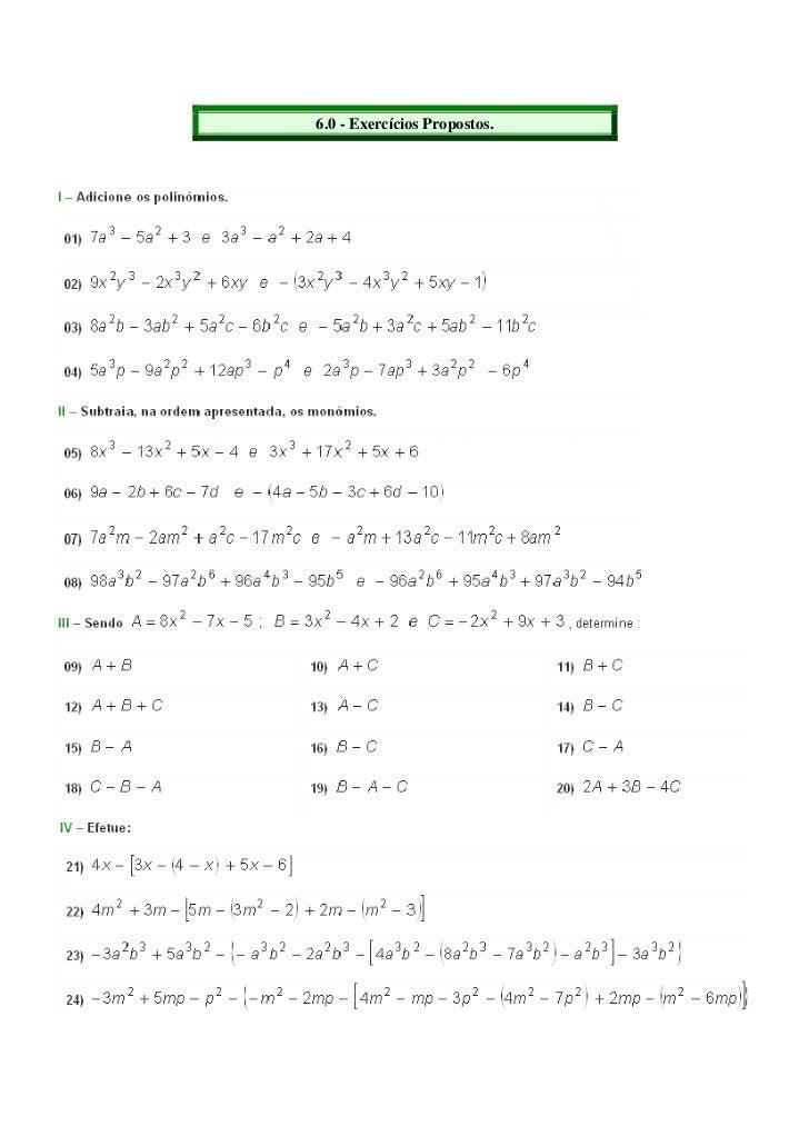 Mat exercicios polinomios
