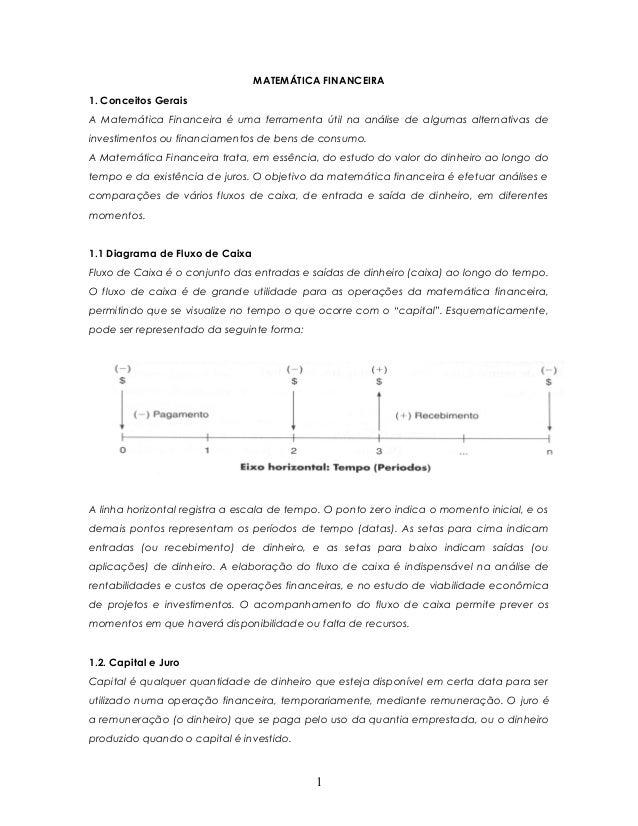 MATEMÁTICA FINANCEIRA1. Conceitos GeraisA Matemática Financeira é uma ferramenta útil na análise de algumas alternativas d...