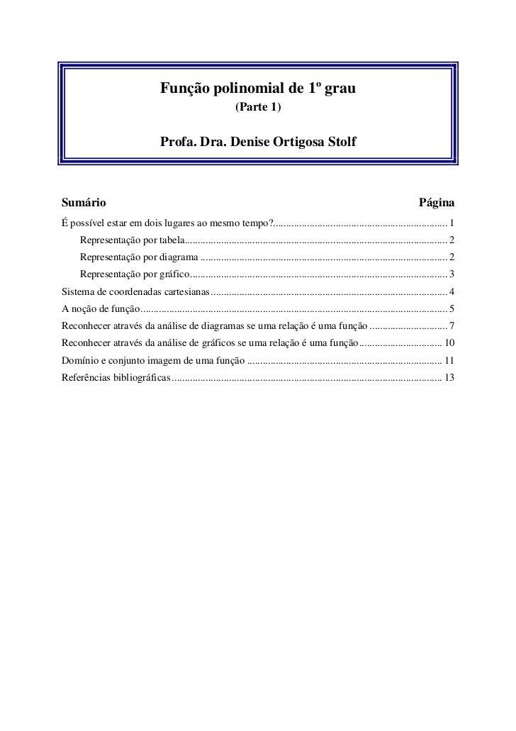 Função polinomial de 1º grau                                                            (Parte 1)                         ...