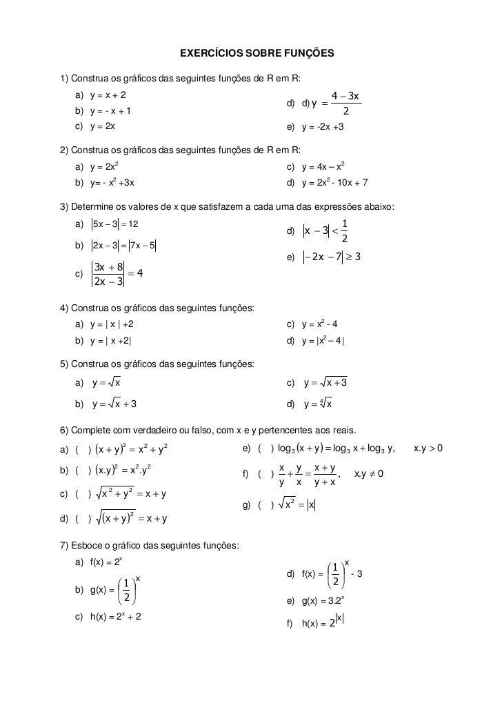 EXERCÍCIOS SOBRE FUNÇÕES1) Construa os gráficos das seguintes funções de R em R:   a) y = x + 2                           ...