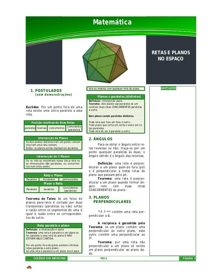 Matemática                                                                                                 RETAS E PLANOS ...
