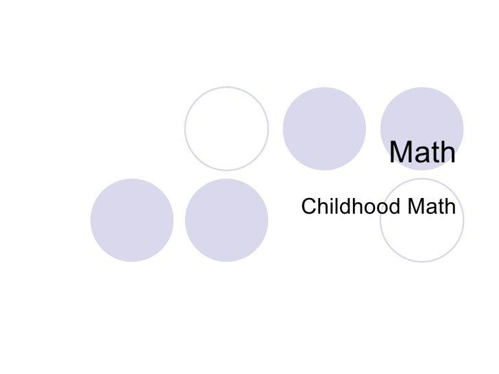 Math Childhood Math