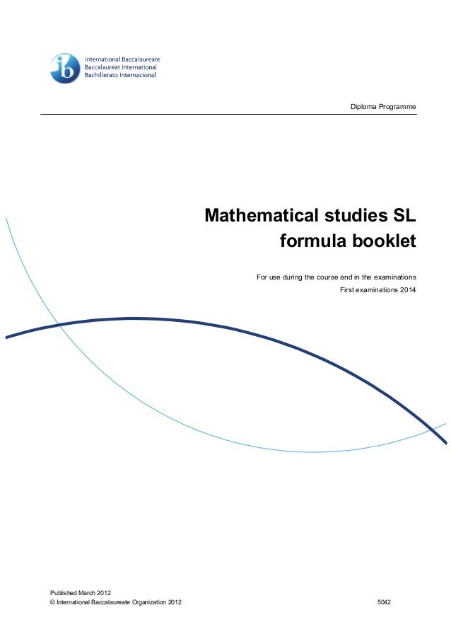 ib hl math formula booklet pdf