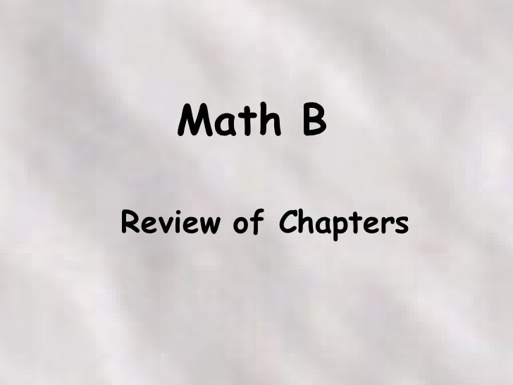 Math B Course By Chapter