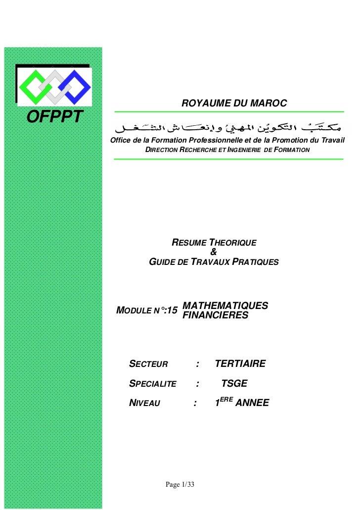 ROYAUME DU MAROCOFPPT        Office de la Formation Professionnelle et de la Promotion du Travail                   DIRECT...
