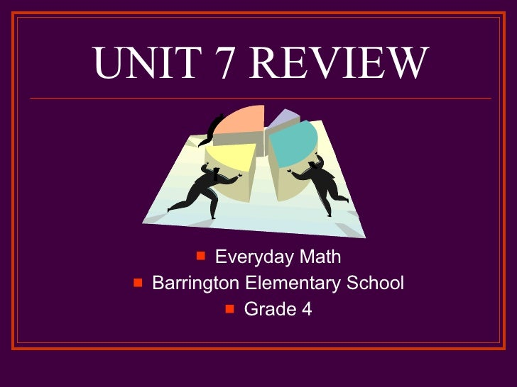 UNIT 7 REVIEW <ul><li>Everyday Math </li></ul><ul><li>Barrington Elementary School </li></ul><ul><li>Grade 4 </li></ul>