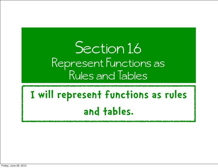 Section 1.6                            Represent Functions as                               Rules and Tables              ...