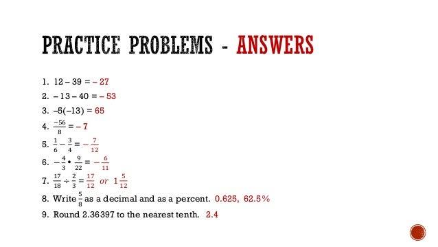 Math 1314 College Algebra Arithmetic Review