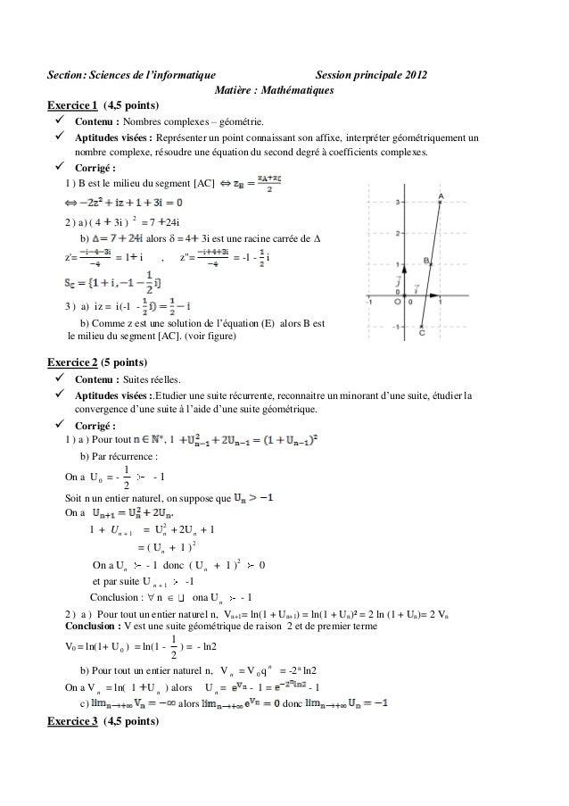 Section: Sciences de l'informatique Session principale 2012 Matière : Mathématiques Exercice 1 (4,5 points)     Contenu ...