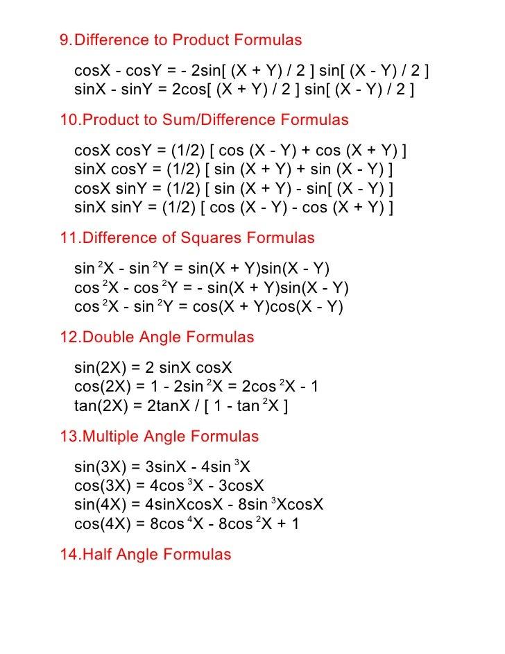 Math34 Trigonometric Formulas
