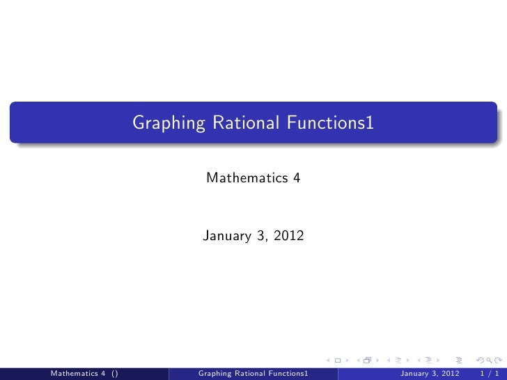 Math 4 graphing rational functions